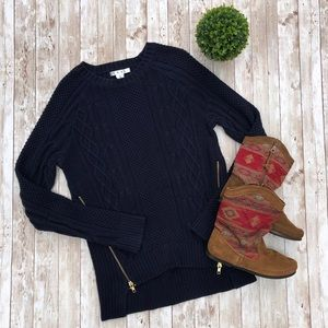 CAbi Side Zip Cable Knit Sweater